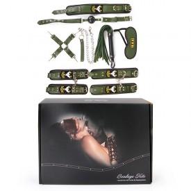 Набор в армейской тематике: наручники, оковы, ошейник с поводком, кляп, маска, плеть, фиксатор